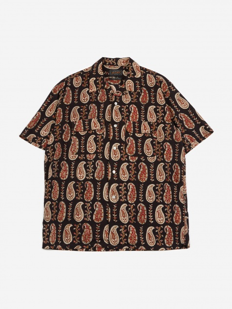 Short Sleeve Open Collar Batik Print 4 Shirt - Black