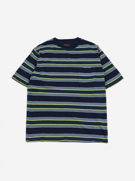 Multi Border Pocket T-Shirt - Navy/Yellow