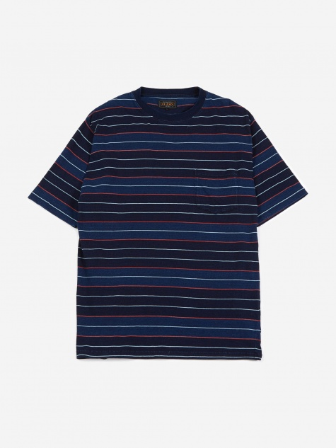 Multi Border Pocket T-Shirt - Navy/Red