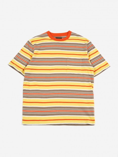 Multi Border Pocket T-Shirt - Orange/Grey/Yellow