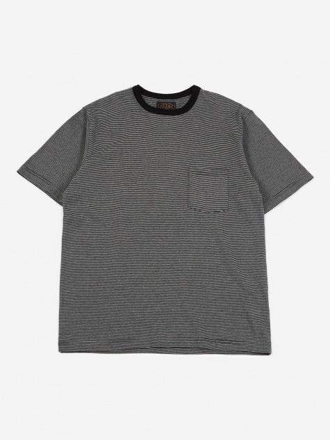 Narrow Border Pocket T-Shirt - Grey/Black