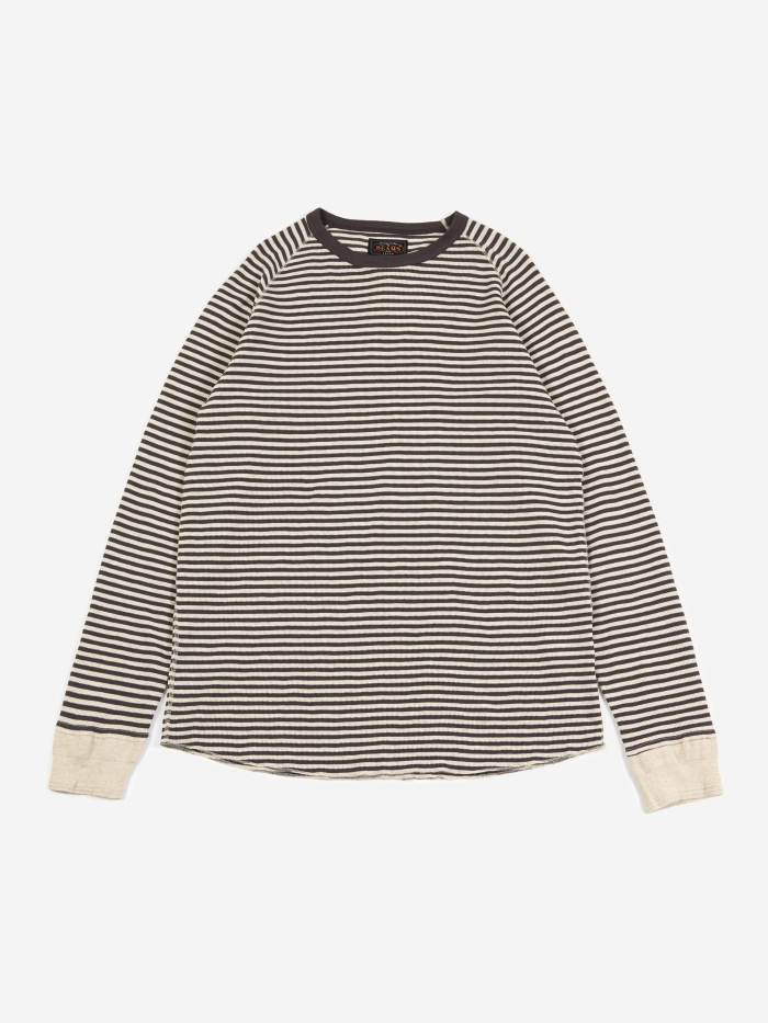 Beams Plus Rib Border Crewneck Sweatshirt - Charcoal Grey (Image 1)