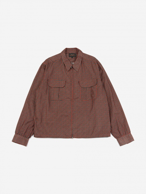 Geometric Print Shirt - Burgundy