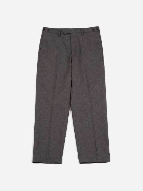 9/10 Geometric Print Trouser - Grey