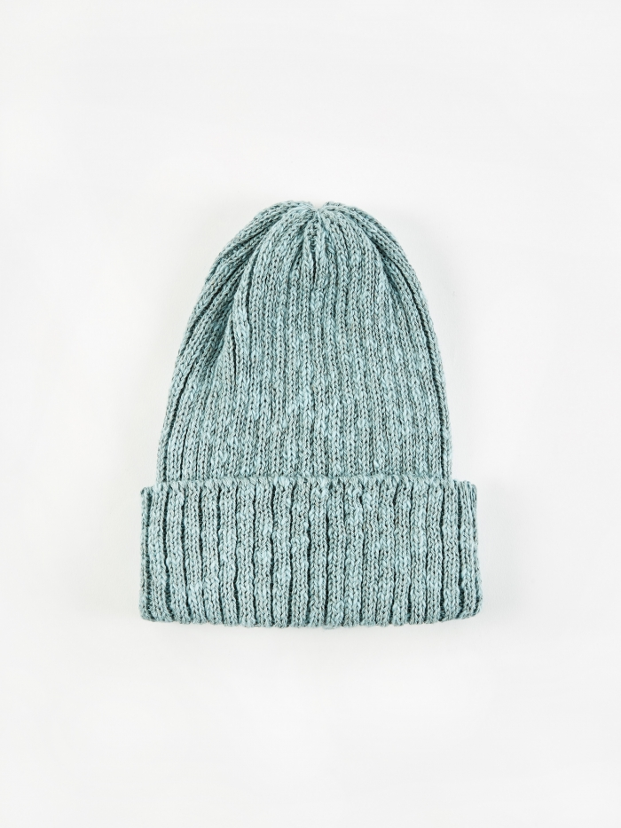 Beams Plus Watch Cap Linen Beanie Hat - Green (Image 1)