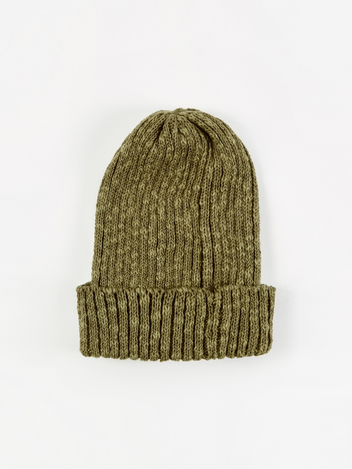 Beams Plus Watch Cap Linen Beanie Hat - Olive (Image 1)