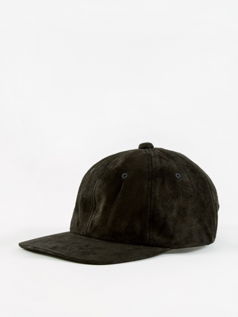 6 Panel Suede Cap - Black