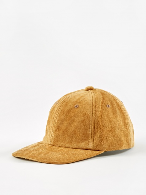 6 Panel Suede Cap - Brown