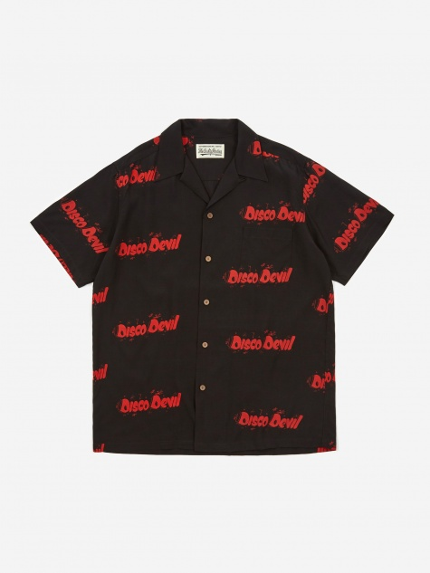 Disco Devil Short Sleeve Hawaiian Shirt - Black/Red