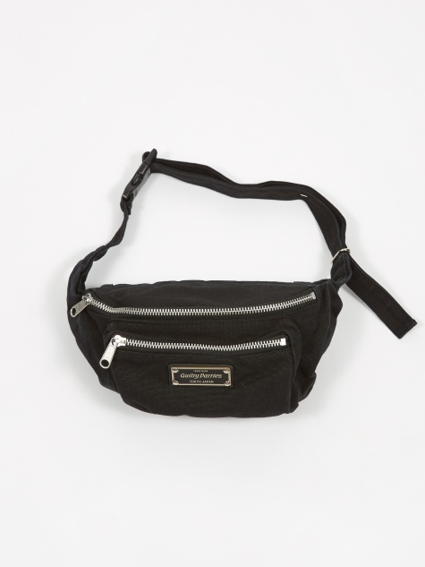 Washed Canvas Waist Bag - Black