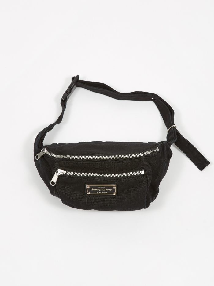 Wacko Maria Washed Canvas Waist Bag - Black (Image 1)