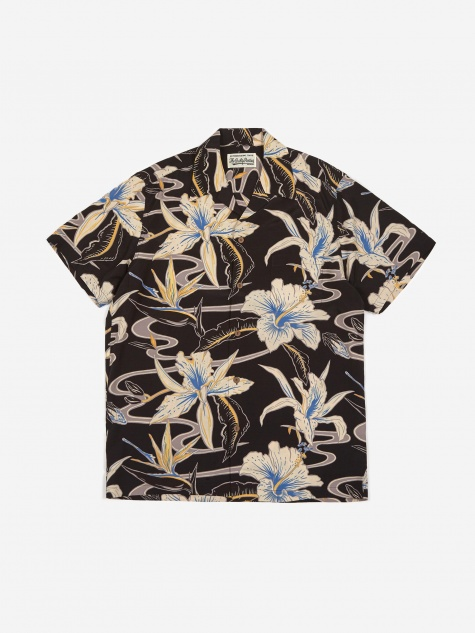 Short Sleeve Hawaiian Shirt (Type-8) - Black