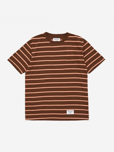 Striped Crewneck T-Shirt (Type-1) - Brown/Orange