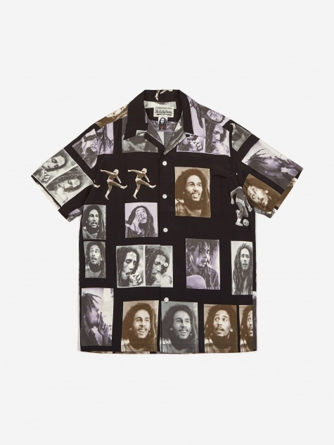 Bob Marley Short Sleeve Hawaiian Shirt - Black