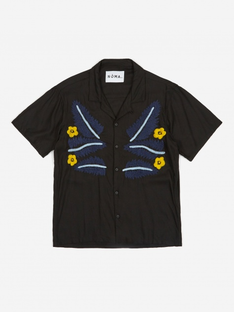 Leaf Embroidered Shirt - Black/Blue