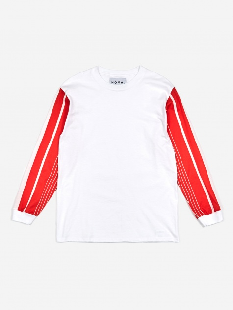 Stripe Sleeve Longsleeve T-Shirt - White/Orange