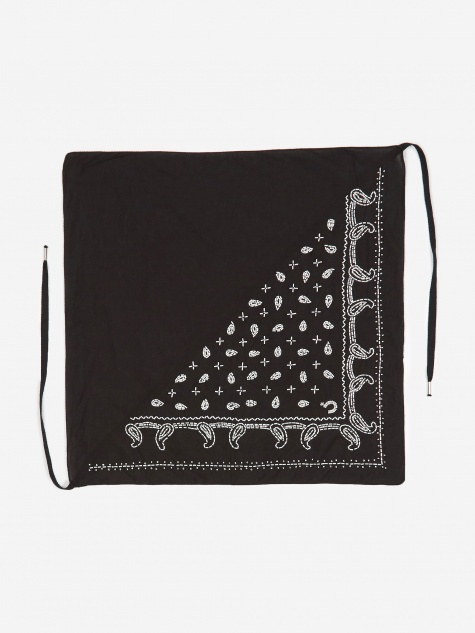 Hand Embroidered Bandana - Black/Off White