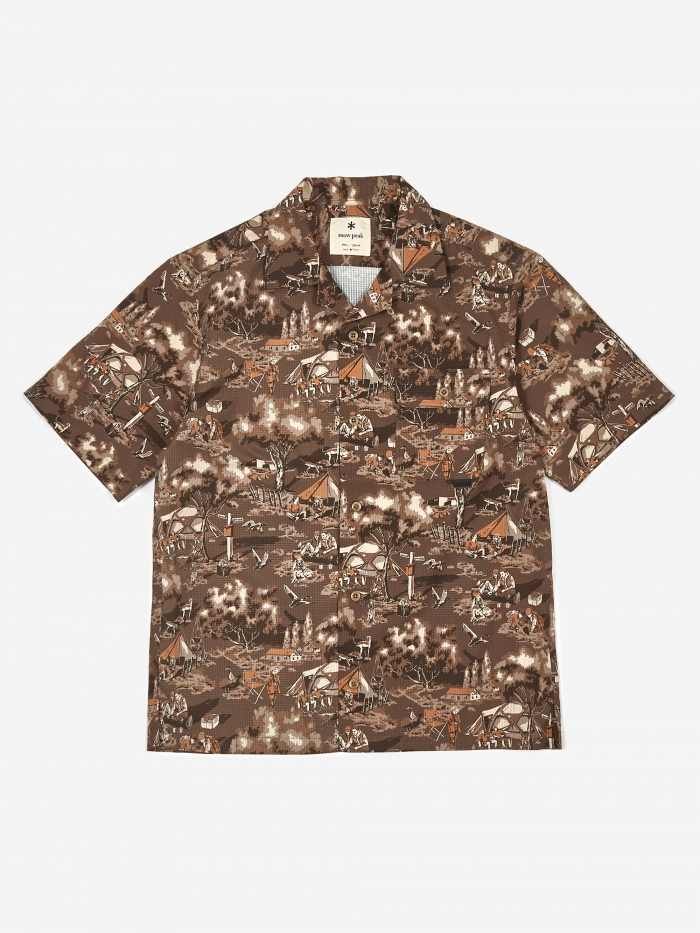 Snow Peak Printed Quick Dry Aloha Shirt - Camping Outdoors (Image 1)
