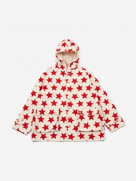 Krazy Parka - Natural/Red Star Print