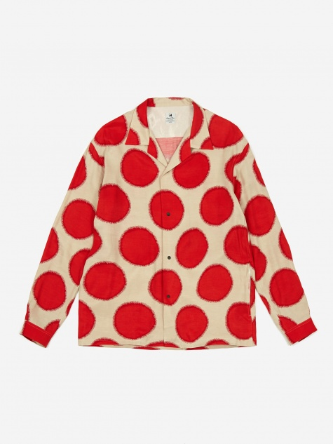 Sasquatchfabrix Dots Open Collar Shirt - Beige/Red