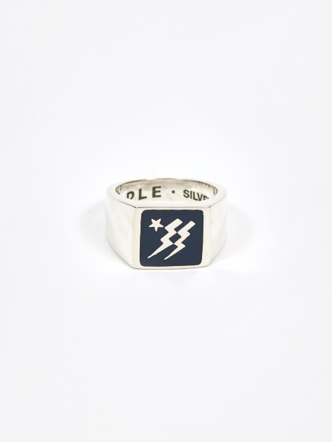 Maple Lightning Ring - Navy/Silver