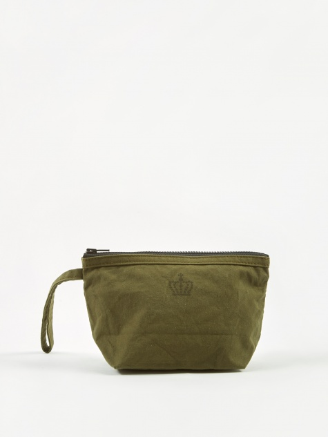 Round Edge Fabric Storage Pouch 20x13cm - Army Olive