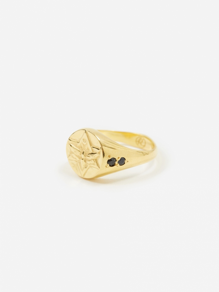 Rachel Entwistle Lunar Signet Ring - 18ct Gold Plated/Sapphire (Image 1)