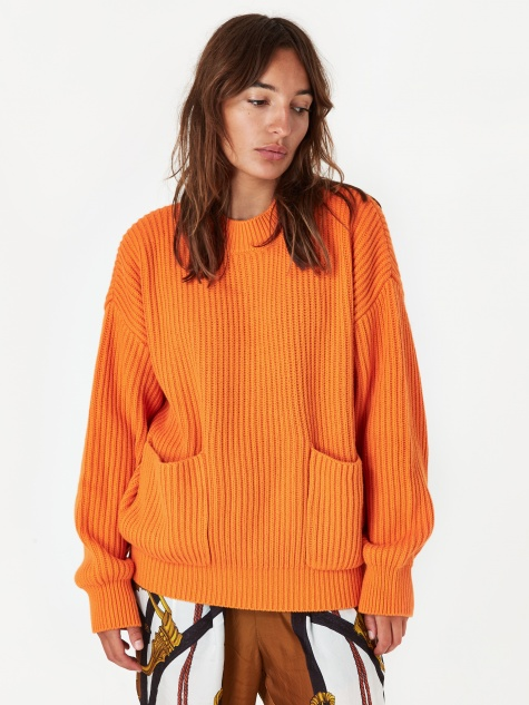 Unused Knitted Pocket Sweatshirt - Orange