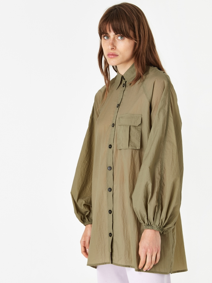 Ganni Light Ripstop Shirt - Aloe (Image 1)
