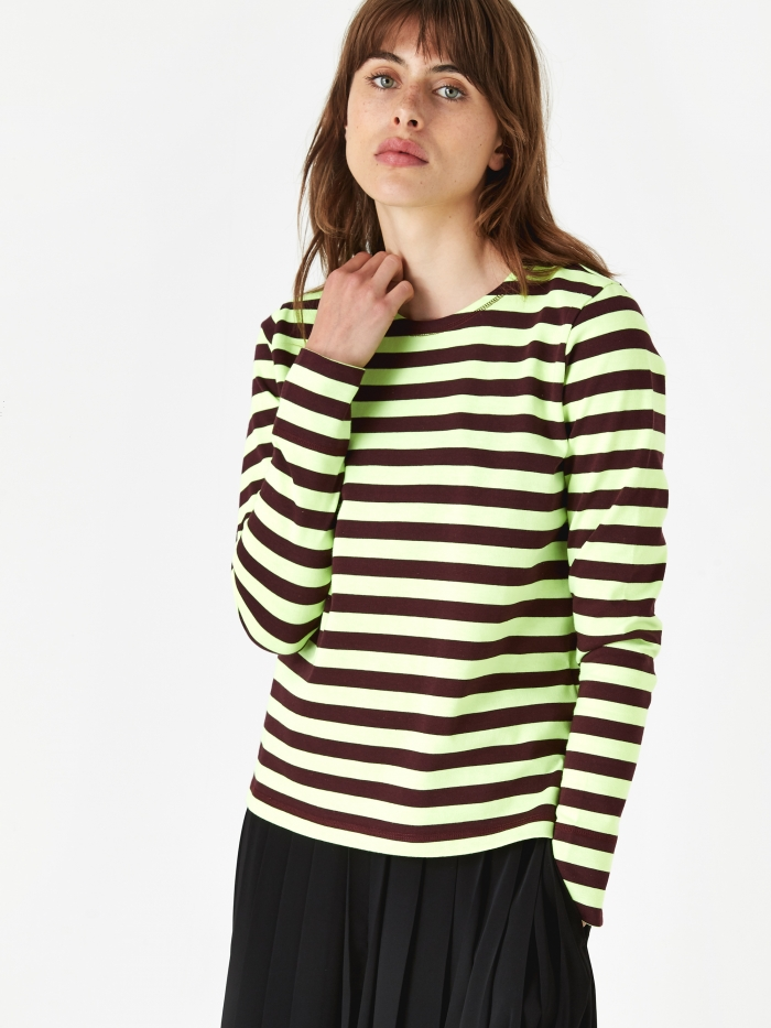 Ganni Striped Cotton Jersey Longsleeve Top - Neon Maize (Image 1)