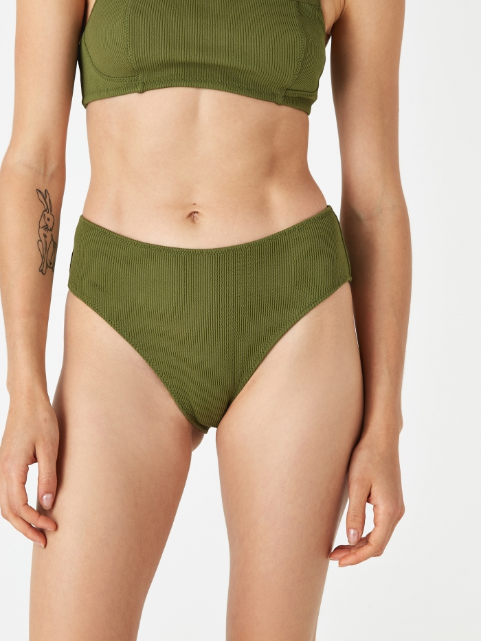 Ganni Textured Bikini Brief - Avocado (Image 1)