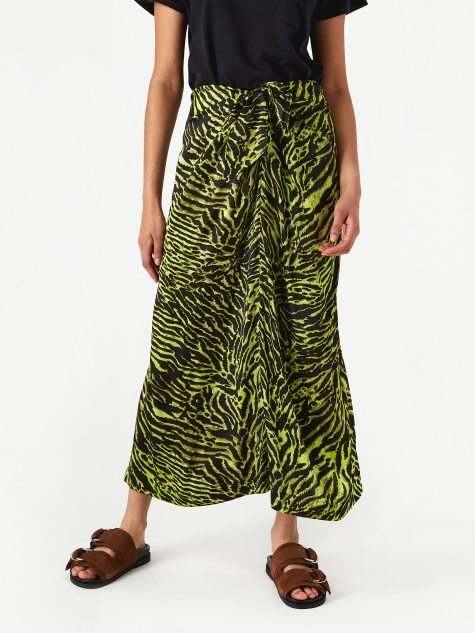 Silk Stretch Satin Skirt - Lime Tiger