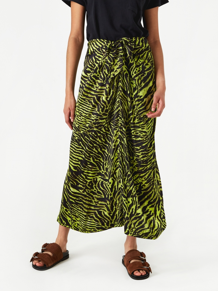 Ganni Silk Stretch Satin Skirt - Lime Tiger (Image 1)