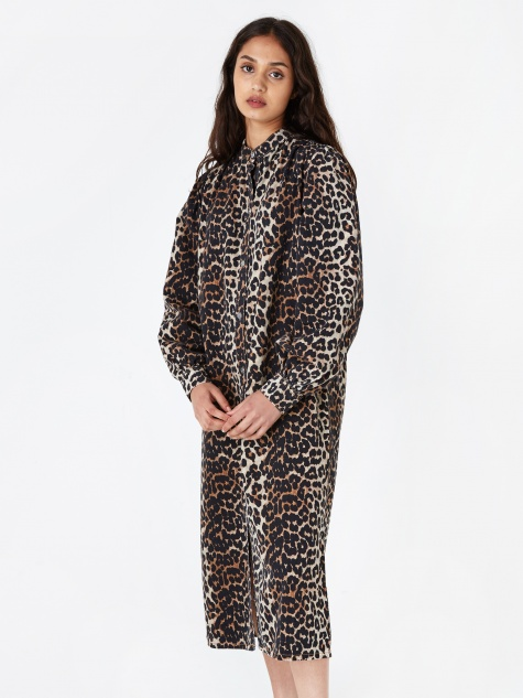 Print Denim Dress - Leopard