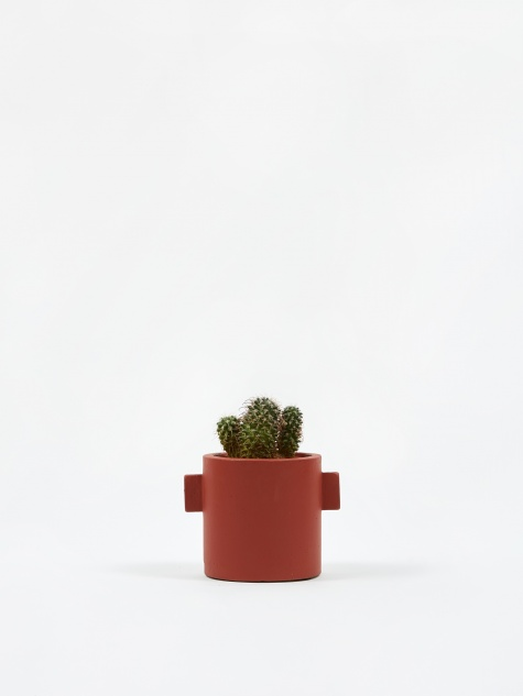 Round Concrete Pot Red/Brown - 13cm