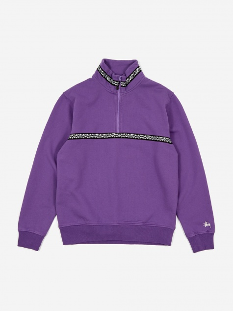 Woven Tape Mock Neck Sweatshirt - Purple