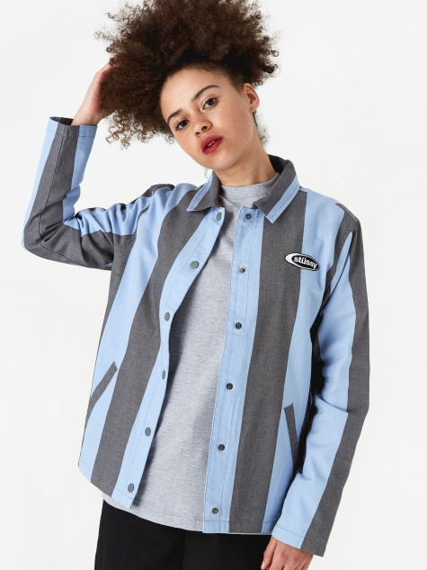 Etta Striped Coach Jacket - Blue