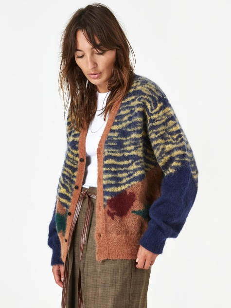 TOGA ARCHIVE Animal Jacquard Knit Cardigan - Yellow