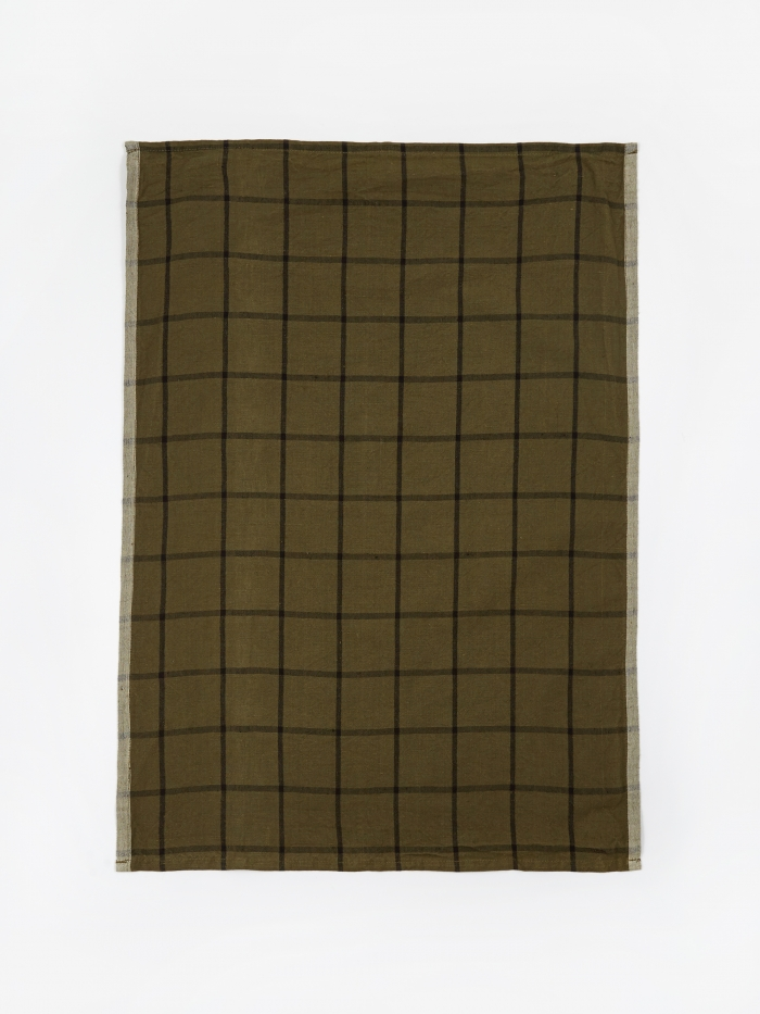 Ferm Living Hale Yarn Dyed Linen Tea Towels - Green (Image 1)