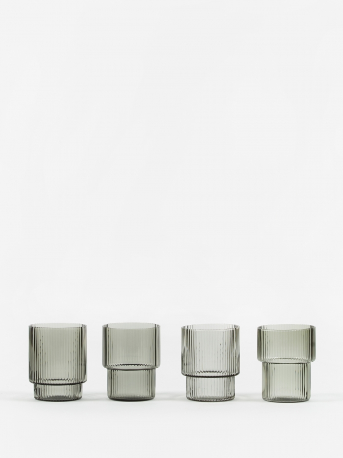 Ferm Living Ripple Short Drink Glass - Set of 4 - Smoked Grey (Image 1)