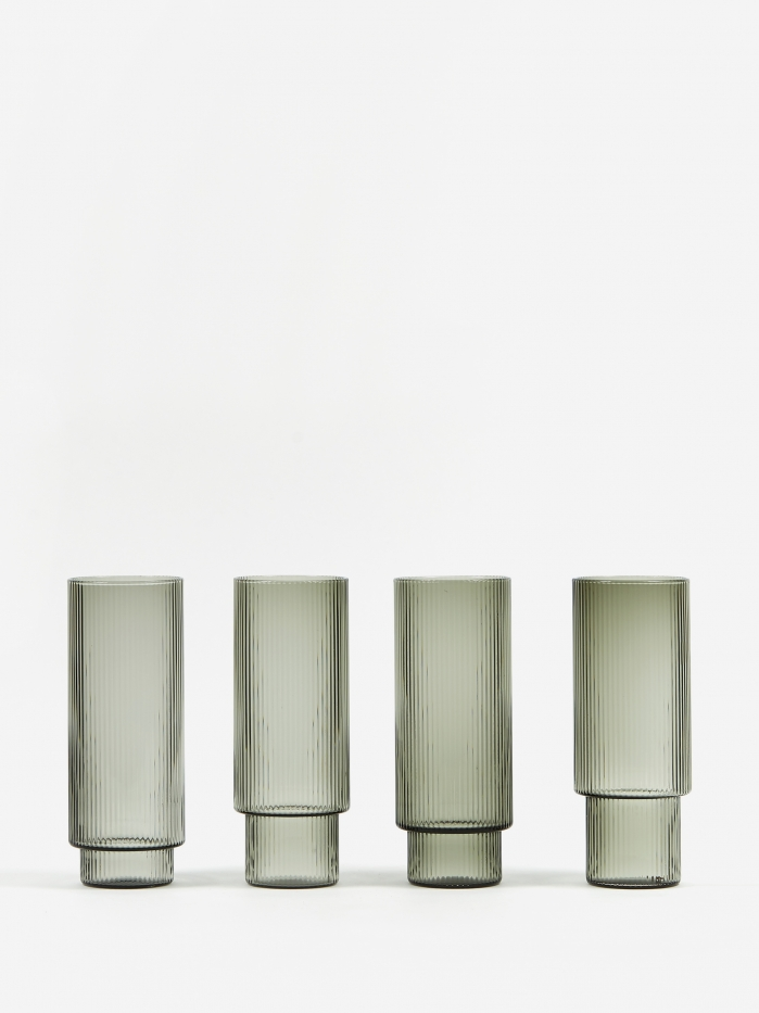 Ferm Living Ripple Long Drink Glass - Set of 4 - Smoke (Image 1)