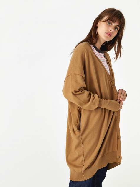 Oversized Knit Cardigan - Beige