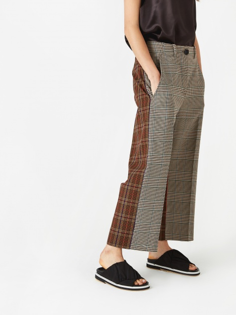 Wide Crop Trouser - Brown Check