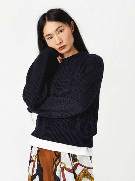 Little Town Half Cardigan Sweater - Navy