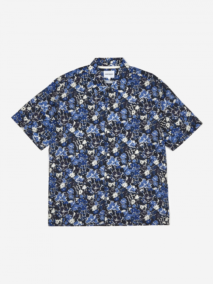Norse Projects Carsten Liberty Print Shirt - Dark Navy (Image 1)