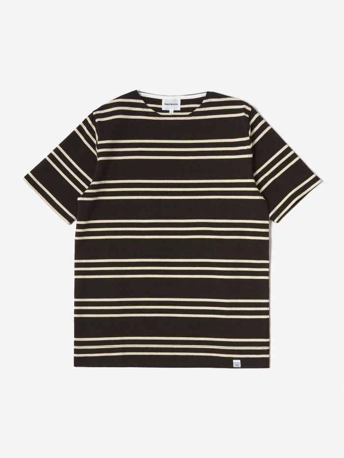 Norse Projects Godtfred Compact Shortsleeve T-Shirt - Black/Ecru (Image 1)