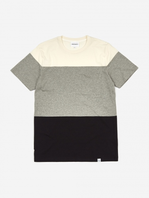 Niels Color Block T-Shirt - Light Grey Melange