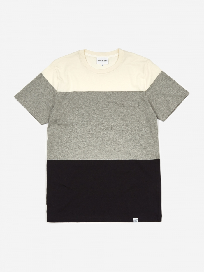 Norse Projects Niels Color Block T-Shirt - Light Grey Melange (Image 1)