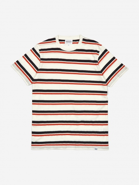 Niels Pique Stripe T-Shirt - Pumpkin Orange/Dark