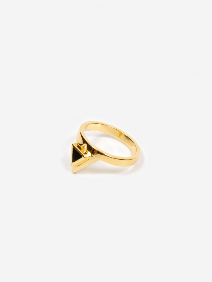 Rachel Entwistle Octa Onyx Signet Ring - 18ct Gold Plated (Image 1)